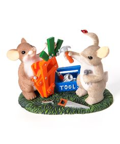 Carpenter Mouse & Rabbit by Charming Tails $7.49 3.25'' W x 3.5'' H x 2.5'' D Stone resin
