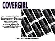 Your own personal makeover with our deals on Wholesale Cosmetics from www.rstrading.com Great assortment of Covergirl mixed cosmetics. Assortment includes eyeshadows, mascaras, Eyeliners, concealers, foundation, bronzers, pallettes, lipsticks, lipglosses and more