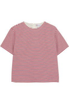 REDValentino Striped textured cotton-blend top | NET-A-PORTER