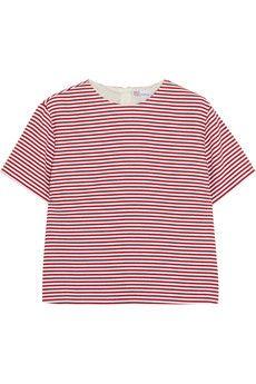 REDValentino Striped textured cotton-blend top | NET-A-PORTER