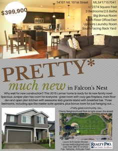 Real Estate for sale at $399,900! Come and view this spacious three bedroom, two full and one half bath, 2374 square foot two story traditional Falcon's Nest home with a large bonus room on a .11 acre lot located at 14101 NE 101st Street, Vancouver, Washington 98682 in Clark County area 62 which is the Brush Prairie or Hockinson area in Clark County. The RMLS number is 17157041. It has one gas burning fireplace and is not considered to be a view home. It was built in 2015 and has an attached…