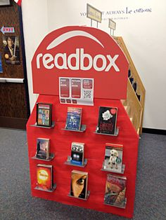 Readbox display with books. This would be good to feature new books on your bookshelf, books similar to one that is being read in class, or students could choose what goes on the shelves.