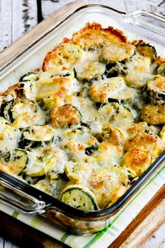 You'll love this Low-Carb Easy Cheesy Zucchini Bake which is most popular zucchini recipe of the Top Ten Low-Carb Zucchini Recipes on Kalyn's Kitchen! Use Zucchini Index to find more recipes like … Cheesy Zucchini Bake, Low Carb Zucchini Recipes, Vegetable Recipes, Low Carb Recipes, Cooking Recipes, Healthy Recipes, Zuchinni Bake, Baked Zuchinni Recipes, Zucchini Squash Casserole