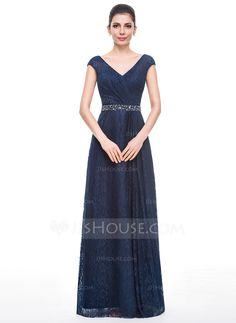 A-Line/Princess V-neck Floor-Length Lace Mother of the Bride Dress With Ruffle Beading Sequins (008058414) - JJsHouse