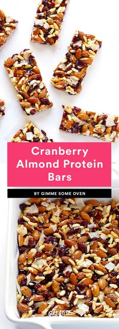 Cranberry Almond Protein Bars Cranberries and almonds make a great combo in trail mix and oatmeal, so clearly they're a power duo in vegan protein bars too. These protein-packed bars also use puffed rice cereal, which makes us feel like we're biting into a way healthier Rice Krispies Treat.