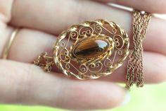 Fine Vintage 14K GF Filigree Tiger's Eye Pendant+ Goldtone Necklace #Pendant