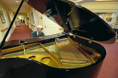 Piano player Bert Hazell, Wolverhampton, is still tinkling the ivories at the grand age of 100 for residents at his care home Jan 2014