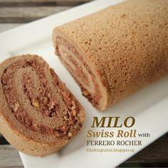 Milo Swiss Roll With Ferrero Rocher (Roulade). Ferrero Rocher, Cake Roll Recipes, Dessert Recipes, Milo Recipe, Milo Cake, Swiss Roll Cakes, Asian Desserts, Chiffon Cake, Cake Servings