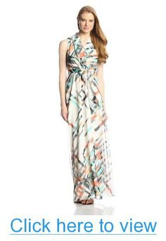 Vince Camuto Women's Sleeveless Wrap Printed Maxi Dress #Vince #Camuto #Womens #Sleeveless #Wrap #Printed #Maxi #Dress
