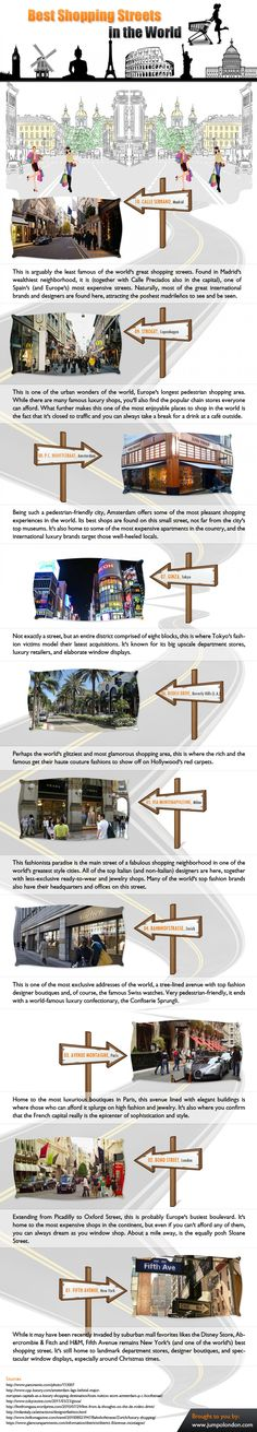Best Shopping Streets in the World #infografía  - Find The Top Online Stores via http://www.AmericasMall.com