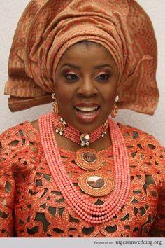 Nigeria Traditional Engagement Wedding Colours: Be Bright & Beautiful With Orange Aso-Oke | Nigerian Wedding