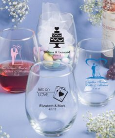 15 Ounce Stemless Wine Glasses at WeddingFavors.org