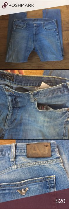 Men's Armani Jeans Pre-loved and broken in = soft! Distressed look and one knee has been fixed with an inside patch, see last picture. Style J314F. W38, L32 Armani Jeans Jeans Straight