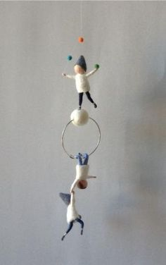 Waldorf inspired needle felted mobile, acrobat pixies, felted gnomes by lindsay0