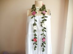 Flower Necklace Scarf-Lariat Scarf-Handmade Long by dreamhouse1