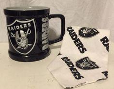 NFL-Oakland-Raiders-Football-3-D-Mug-Mens-Tie-Gift-Pack-1999-Silver-Black