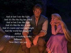 I see the light, Tangled, Rapunzel and Flynn Rider (Eugene Fitzherbert) And at last I see the Light. Cute Disney Quotes, Disney Princess Quotes, Disney Princess Pictures, Disney Princess Drawings, Funny Disney Memes, Disney Love, Tangled Quotes, Rapunzel Quotes, Disney Rapunzel