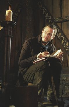 Heath Ledger reads in The Brothers Grimm.
