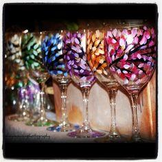 Painted Wine Glasses.