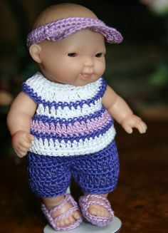 Crochet clothes outfit for Berenguer 5 inch by dollcrochetboutique