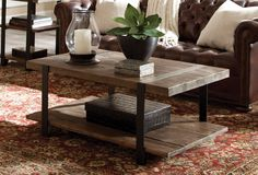 The Modesto 42 inch Coffee Table has a rustic and natural style, and it provides plenty of space for your decorating needs. The solid, reclaimed wood and strong metal legs make a statement in your living space.