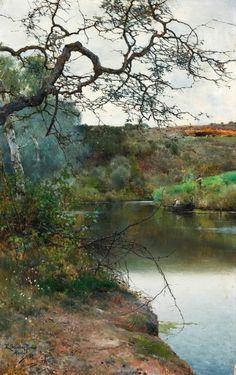 Emilio Sánchez Perrier (Spanish, 1855-1907). Pescando en la ribera del río Guadaira, 1886