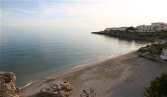 Playa Caletilla vid Europabalkongen i Nerja, Andalusien