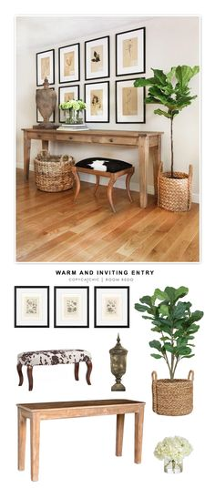 Copy Cat Chic Room Redo A warm and inviting entryway designed by Kelly McGuill and recreated for les Flur Design, Design Room, House Design, Interior Design, Design Art, Lobby Design, Interior Ideas, Farmhouse Entryway Table, Entryway Decor