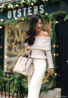 Winter white outfit // off shoulder sweater + cream trousers from @whbm petites #seasonofstyle