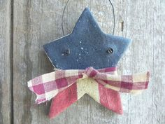 Primitive Star Salt Dough Ornament / July 4th Decoration