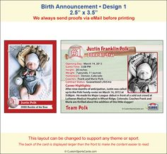 Trading Cards Birth Announcements Sample 1
