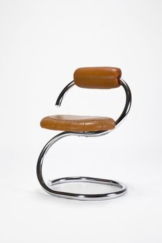 Giotto Stoppino; Chromed Tubular Metal and Leather Chair for ItalChrome, 1970s.