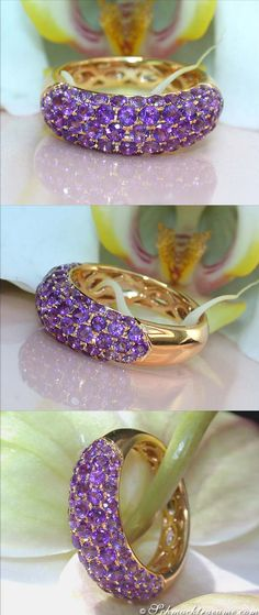Picture Perfect Amethyst Pave Ring | 2.45 ct. | Yellowgold 14k - schmucktraeume.com Like: https://www.facebook.com/Noble-Juwelen-150871984924926/