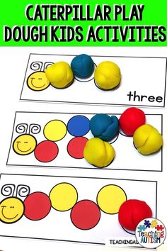 Your preschool, kindergarten and EYFS students will love working on their counting and sequencing skills with these caterpillar play dough task cards are perfect to add to your math activities. Maths Eyfs, Eyfs Activities, Nursery Activities, Playdough Activities, Preschool Activities, Preschool Kindergarten, Shape Activities, Autism Teaching, Teaching Kids