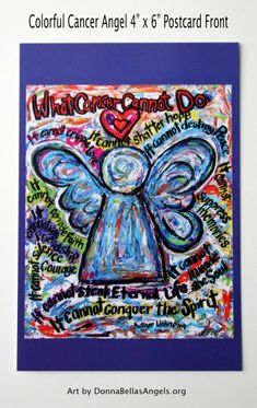 Colorful What Cancer Cannot Do Angel Poem Art Painting -10 Postcards