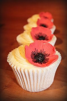 poppy cupcakes by Sweet Little Cakes Of Surrey, via Flickr