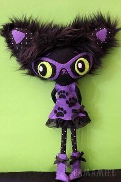 Doll black cat kitty Gatiuska by camamiel