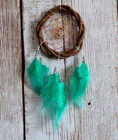 Car Dream Catcher - Om Dreamcatcher - Om - Yoga - Green - Feathers - Car Ornament - Small Dream Catcher - Car Decor - Boho - Hippie