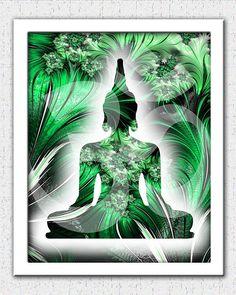 Green Buddha print green Buddha art green black fractal art