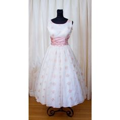 1950's Dress Pink and Silver Snowflake Winter Wonderland Embroidered... ❤ liked on Polyvore featuring dresses, silver dresses, sash belt, pink short sleeve dress, short-sleeve dresses and snowflake dress