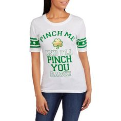 "St. Patrick's Day Juniors ""Pinch Me And I'll Pinch You Back!"" Graphic Hockey Tee - Walmart.com"