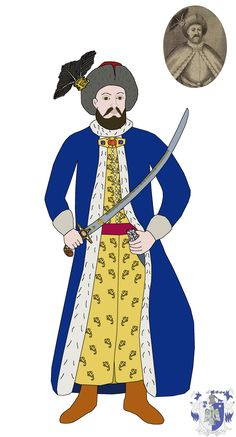"""Constantin Brancoveanu, Wallachian voivode from 1688 to 1714. He is wearing the typical court fashion of that time period and is holding one of his Brancovenesc style sabers (this one being a kilij type saber decorated with 24 gemstones) with the inscription """"You, invincible emperor, word of God, the all-master, give the crown of victory over the enemies of Voivode and faithful Lord Constantin, as [you gave it] to Emperor Constantine the Great"""" Constantine The Great, Holy Mary, Oriental Pattern, Burning Candle, The Crown, Detailed Image, Enemies, Emperor, Word Of God"""