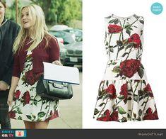 Madeline's rose print drop-waist dress on Big Little Lies.  Outfit Details: https://wornontv.net/66193/ #BigLittleLies