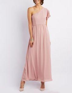 Ruched One-Shoulder Maxi Dress: Charlotte Russe