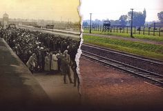 """Auschwitz-Birkenau, then and now"" (via BBC) The juxtaposition of images is chilling On this day in 1942 the first female prisoners arrive at Auschwitz concentration camp in German-occupied Poland."