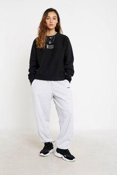Champion UO Exclusive Triple Script Logo Black Crew Neck Sweatshirt | Urban Outfitters UK Logan, Urban Outfitters, Champion Clothing, Script, Latest Fashion, Jumper, Normcore, Sweatpants, Clothes For Women