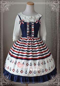Sweet Blue Ocean Patchwork Cotton Sailor Inspired JSK Lolita Dress Magic Tea Party Dress