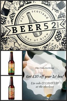 Try Beer52 Craft Beer  Beer and good food go hand in hand. A juicy burger and a bottle of American beer? Steak pie with a glass of ale? Perfect.   So if you fancy sending your tastebuds on the ultimate craft beer road trip, Beer52 are offering £10 off Culinary Travels reader's first box, simply use the unique code CULINARY10 when you checkout. Why not hop (geddit?) over for a browse?