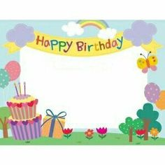 Happy Birthday Frame, Birthday Frames, Happy Birthday Images, Happy Birthday Greetings, Birthday Board, Crafts To Do, Crafts For Kids, School Frame, Thanks Card