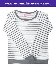 Jenni by Jennifer Moore Women's Long Sleeve French Terry Striped Pajama Top (XX-Large, Ivory Stripes). Jenni by Jennifer Moore premium designer brand name sleepwear & intimate apparel for women & juniors.